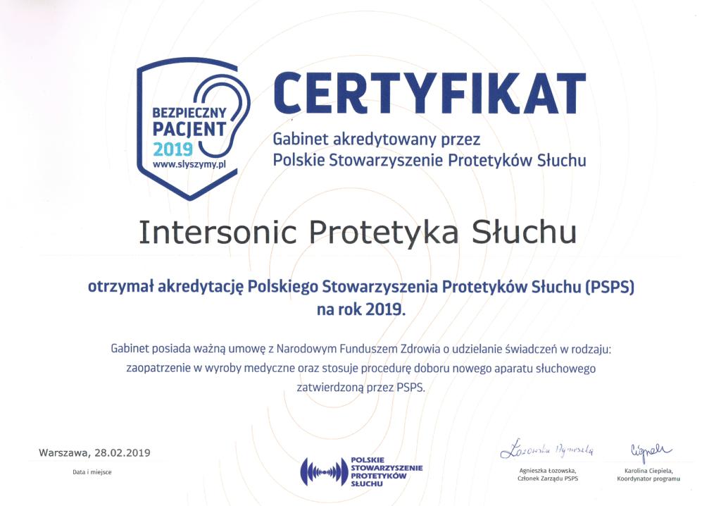 certyfikat protetyka słuchu